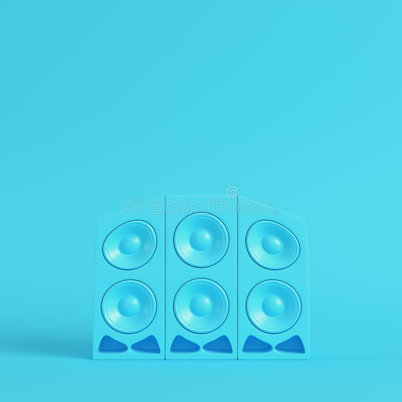 Stereo cartoon-styled speakers on bright blue background in past vector illustration