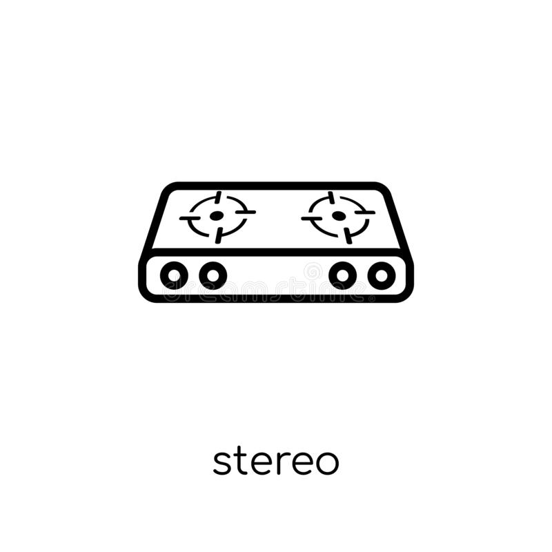 Stereo icon. Trendy modern flat linear vector stereo icon on white background from thin line Electronic devices collection. Editable outline stroke vector royalty free illustration