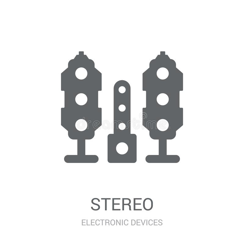Stereo icon. Trendy stereo logo concept on white background from. Electronic Devices collection. Suitable for use on web apps, mobile apps and print media stock illustration