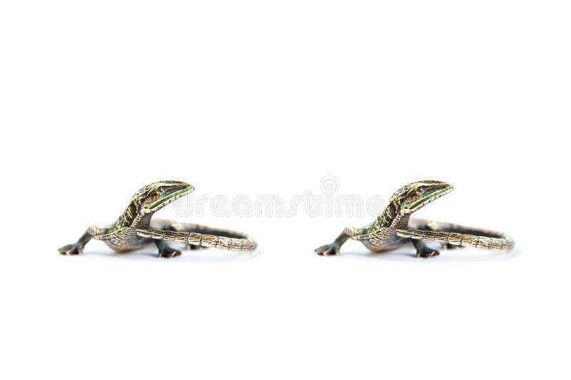 Stereo photography of miniature lizard bronze figurine royalty free stock images