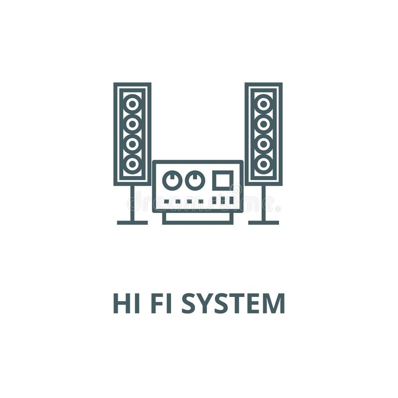 Stereo- solitt, hi linje symbol, linjärt begrepp, översiktstecken, symbol för fi-systemvektor royaltyfri illustrationer
