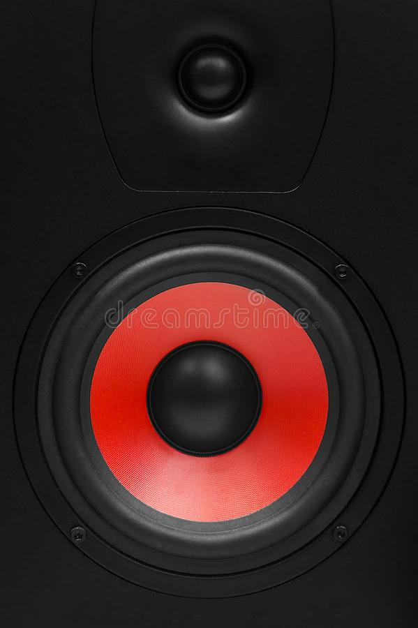 Stereo sound system on white background. Stereo speakers in wooden case stock images