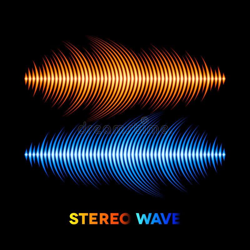 Stereo-Sound-Wellenform lizenzfreie abbildung