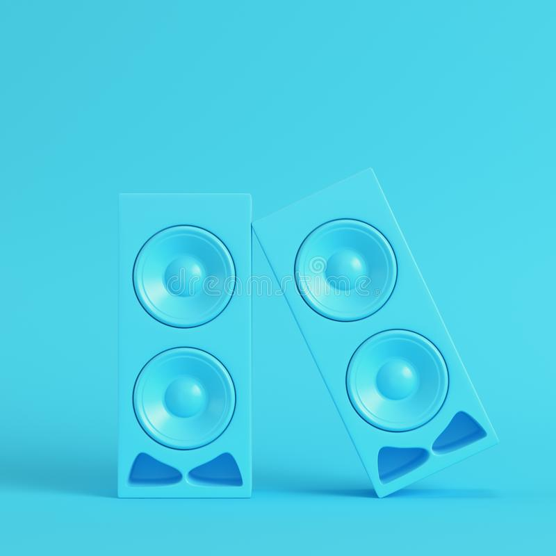 Free Stereo Speakers On Bright Blue Background In Pastel Colors Stock Photography - 129682482
