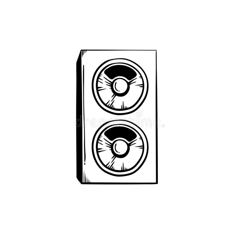 Stereo speakers for playing loud club or concert music in sketch style. vector illustration