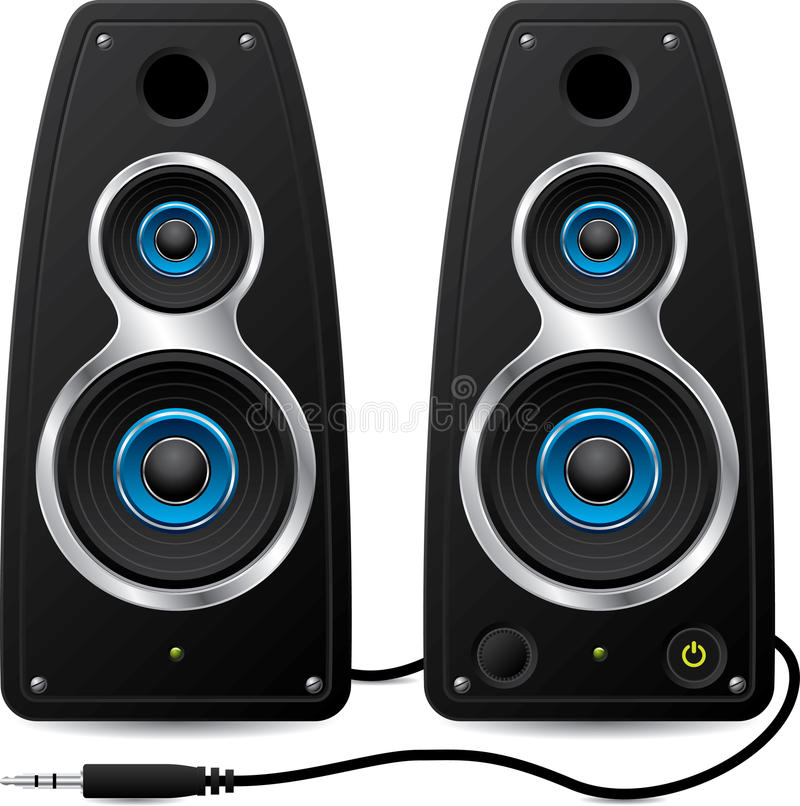 Stereo speakers with plug vector illustration