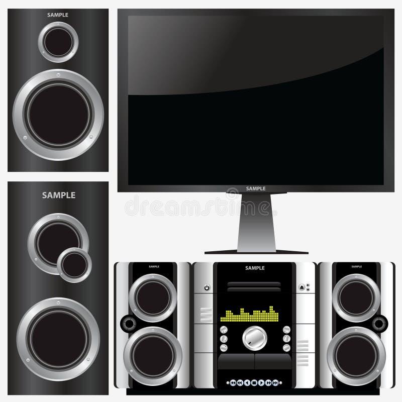 stereo- surroundsystem royaltyfri illustrationer