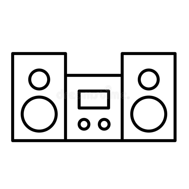 Stereo thin line icon. Stereo system vector illustration isolated on white. Cassette player outline style design stock illustration