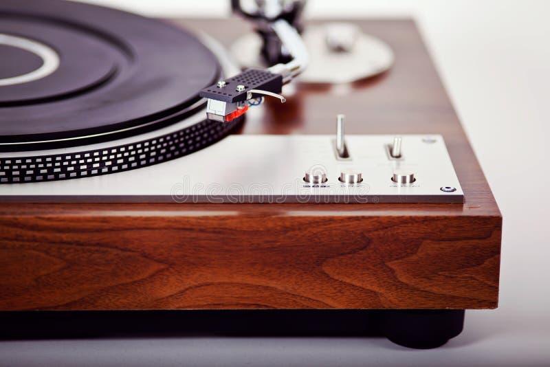 Stereo Turntable Vinyl Record Player Analog Retro Vintage. Closeup stock photography