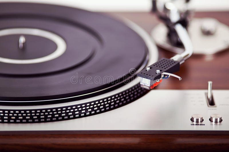 Stereo Turntable Vinyl Record Player Analog Retro Vintage. Closeup royalty free stock photo