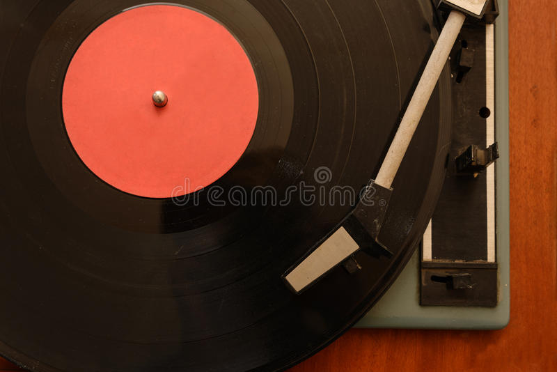 Stereo Turntable Vinyl Record Player Analog Retro Vintage. Front view stock photo