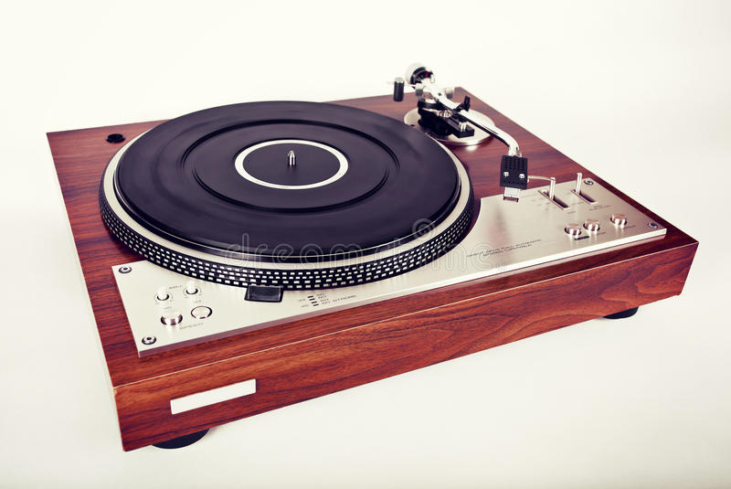 Stereo Turntable Vinyl Record Player Analog Retro Vintage. Top View royalty free stock image