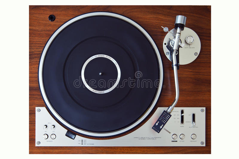 Stereo Turntable Vinyl Record Player Analog Retro Vintage. Top View stock photo