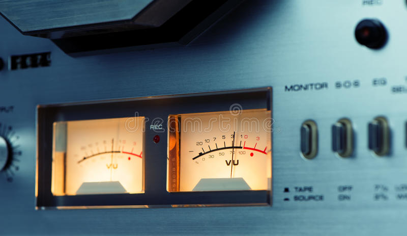 Stereo VU meter reel to reel deck stock photo