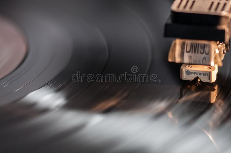 Stereophonic vinyl record close-up stock photo
