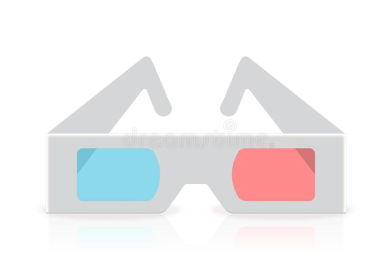 Stereoscopic anaglyph disposable paper 3D glasses. Vector illustration in realistic style. royalty free stock photos
