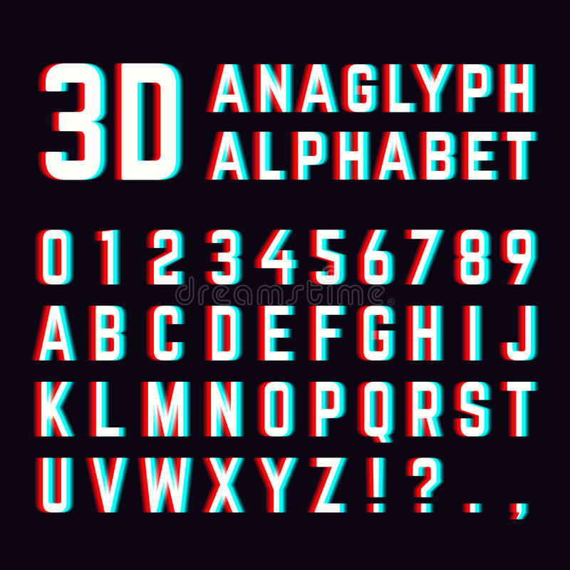 Free Stereoscopic Distortion, 3d Anaglyph Font Alphabet Letters Royalty Free Stock Images - 85595609