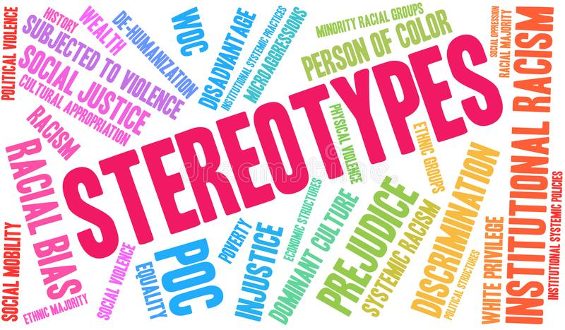 Stereotypes Word Cloud. Stereotypes in Racism word cloud on a white background stock illustration
