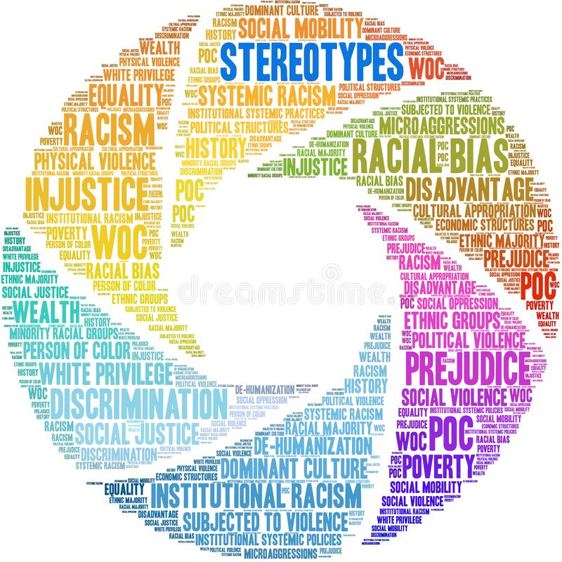 Stereotypes Word Cloud. On a white background royalty free illustration