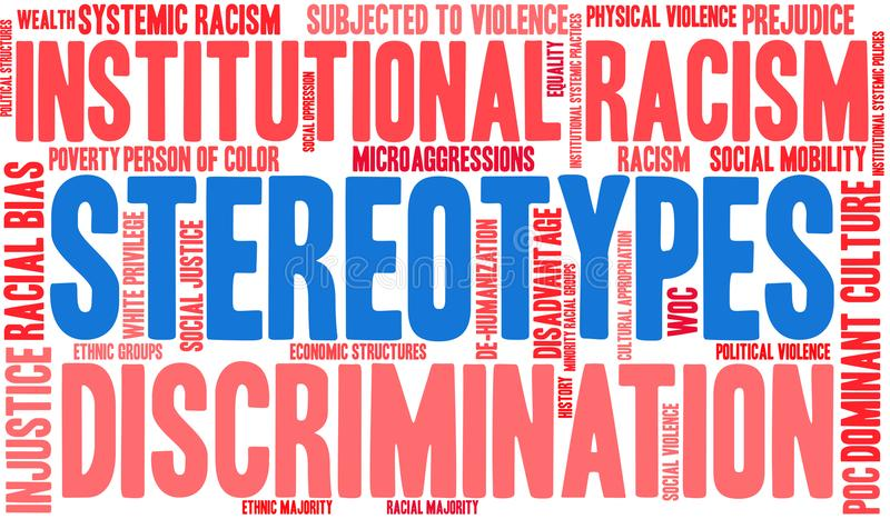 Stereotypes Word Cloud. On a white background stock illustration