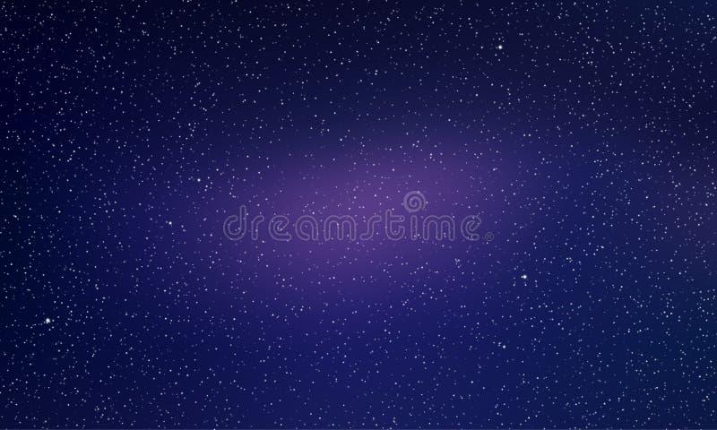 Sterhemel, sterrige nacht lichte ruimte vectorachtergrond Noordelijke lichtengloed, de sterrenachtergrond van de dageraad abstrac stock illustratie