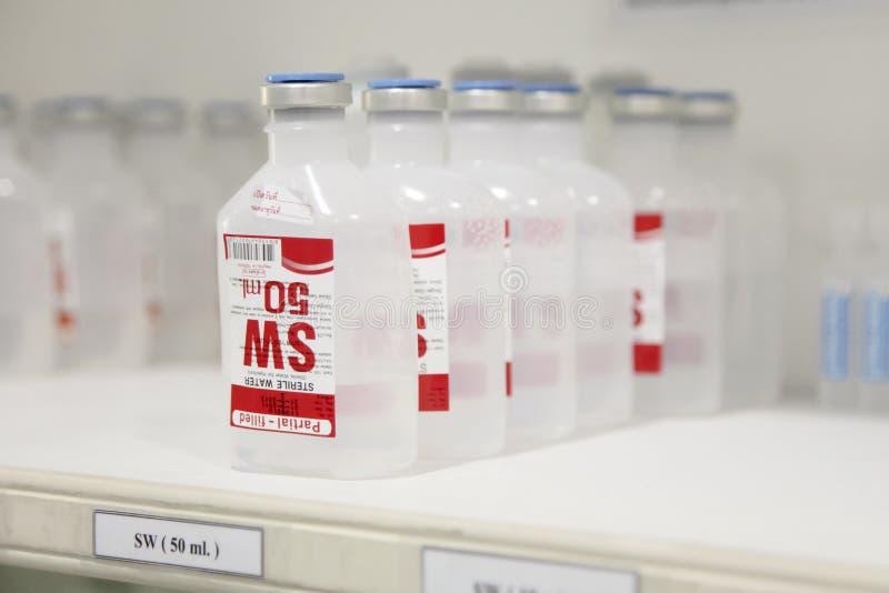 Sterilt vatten för injektion 50 ml arkivfoton
