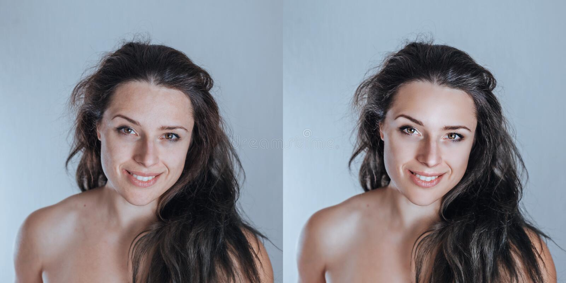 Sterk maar toch natuurlijk jong vrouwelijk studioportret die sampl retoucheren stock foto's
