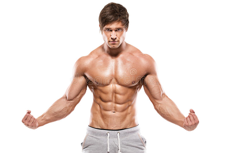 Sterke Atletische Mens die spierlichaam tonen stock foto