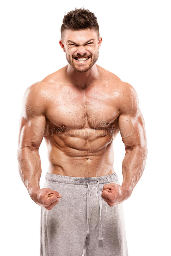 Sterke Atletische Mensengeschiktheid ModelTorso die grote spieren tonen royalty-vrije stock afbeeldingen