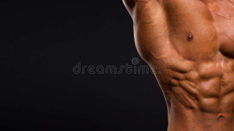 Sterke Atletische Mensengeschiktheid ModelTorso die zes pakkenabs op donkere achtergrond tonen stock foto
