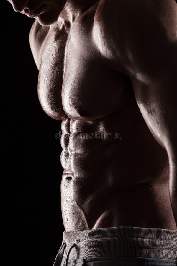 Sterke Atletische Mensengeschiktheid ModelTorso die zes pakkenabs tonen. stock foto