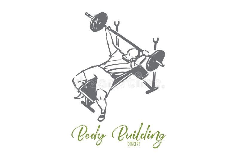 Sterke gymnastiek, barbell, mens, gezondheidsconcept Hand getrokken ge?soleerde vector royalty-vrije illustratie
