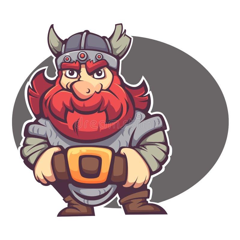 Sterke held, vectorbeeld van fantasiedwerg stock illustratie