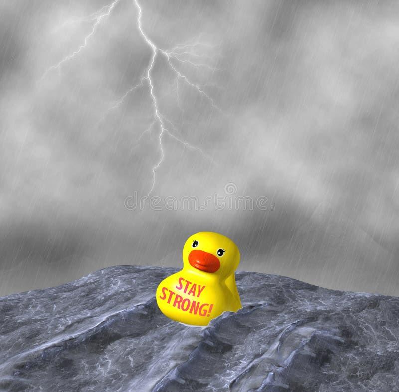 Sterke het verblijf is Taai Geel Duck Afloat Rainstorm Illustration royalty-vrije illustratie