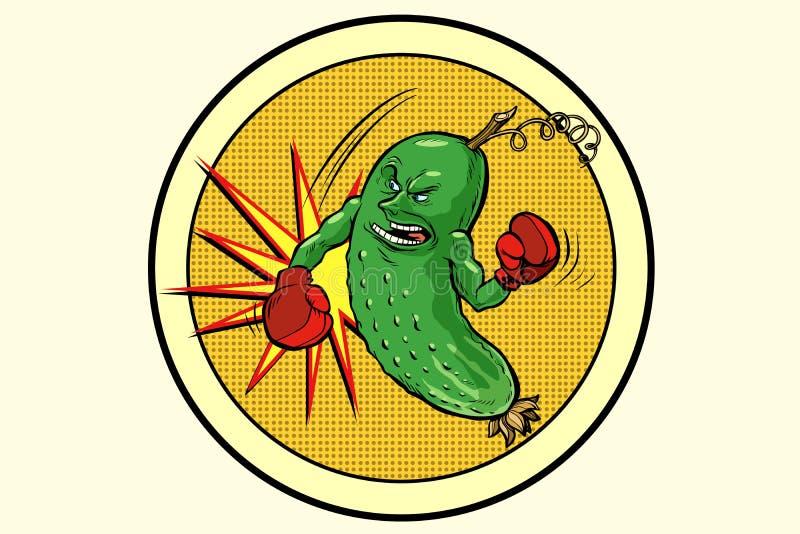 Sterke komkommer, vegetarisch embleem en gezonde voeding stock illustratie