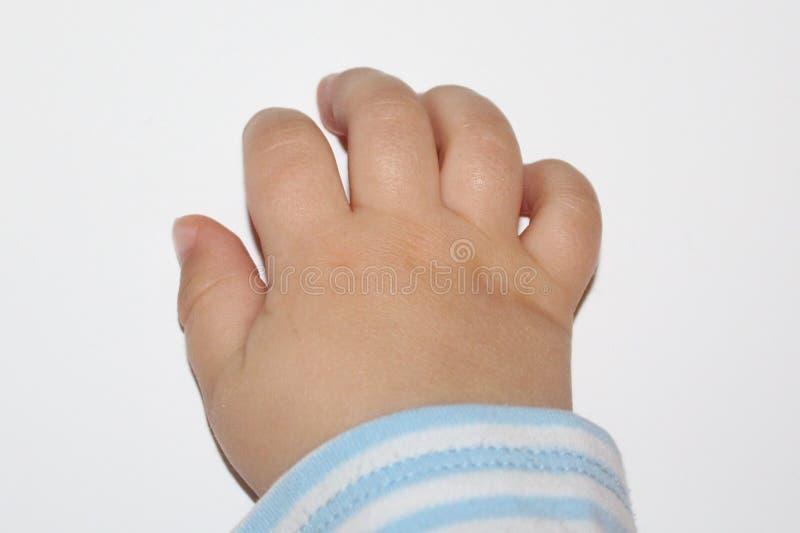 Sterke liefde Babyvingers Close-up van babyhand of vingers op wit wordt geïsoleerd dat royalty-vrije stock foto