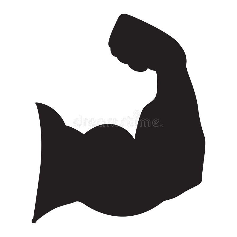 Sterke macht, Silhouet van het vectorpictogram van wapenspieren vector illustratie