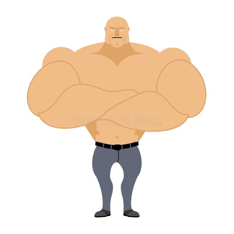 Sterke Mens Bodybuilder, atleet op een witte achtergrond Mens die met royalty-vrije illustratie
