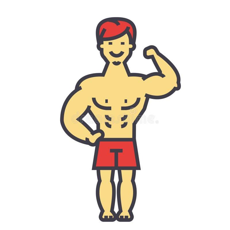 Sterke mens, bodybuilder, spierenconcept stock illustratie