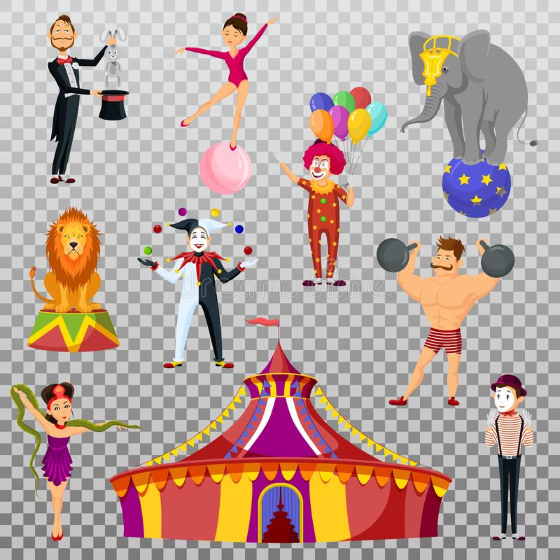 Sterke mens en circustent, meme kunstenaar en clown vector illustratie