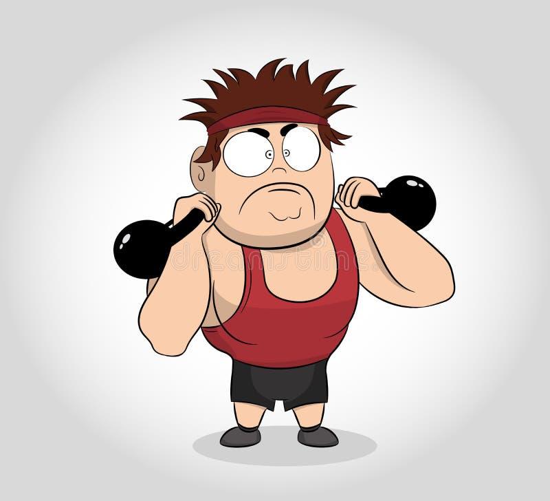 Sterke mens in sportkleding die training met kettlebellgewicht doen De Spiermens van het beeldverhaalkarakter met Kettlebells Vec stock illustratie
