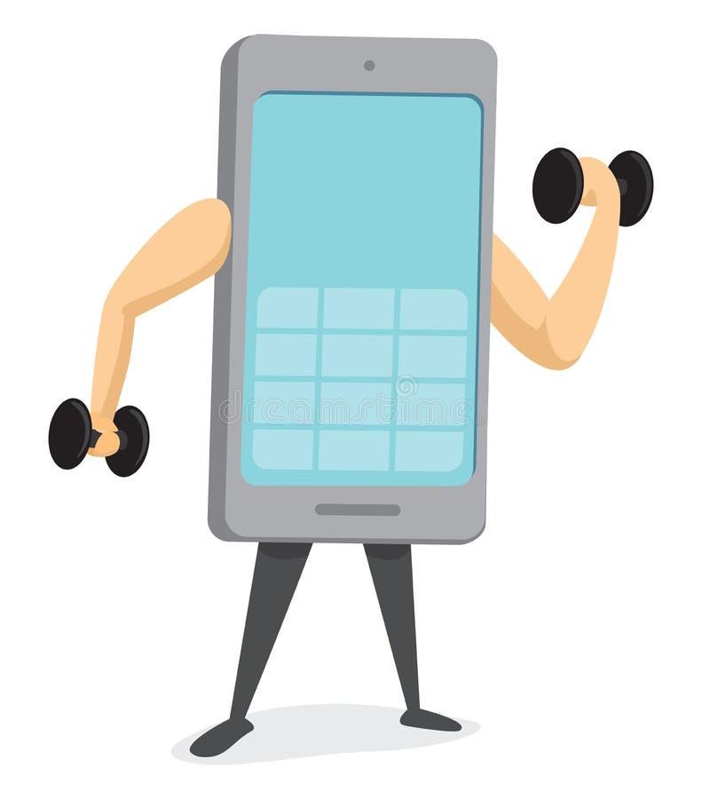 Sterke mobiele telefoon die geschikt worden royalty-vrije illustratie