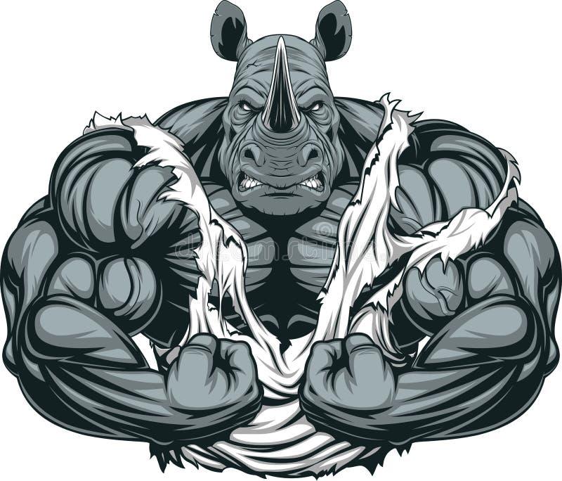 Sterke rinocerosatleet vector illustratie