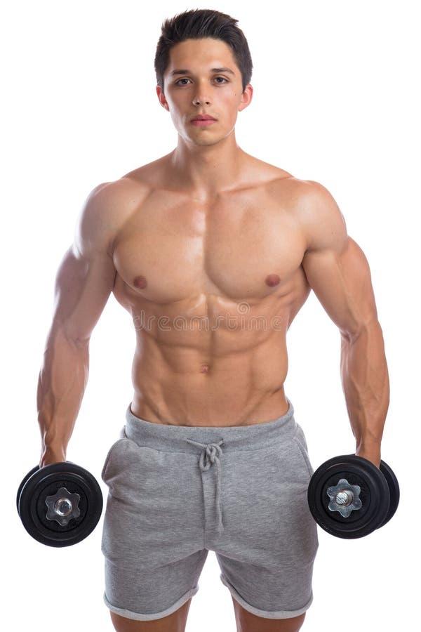 Sterke spier jonge mens van bodybuilder de bodybuilding spieren dumbb stock afbeelding