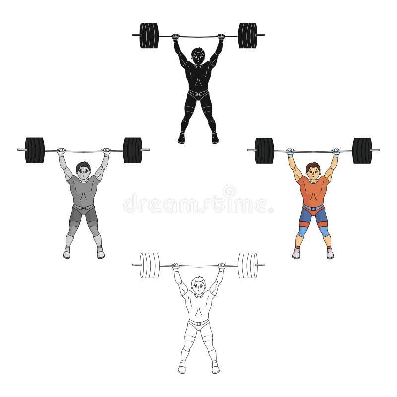 Sterke weightlifter fokt de bar in de gymnastiek De atleet heft een reusachtig gewicht op De olympische sporten kiezen pictogram  vector illustratie