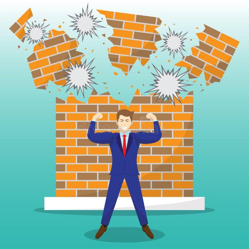 Sterke Zakenman In Front Of Breaking Brick Wall stock illustratie