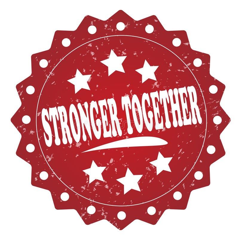 Sterker samen rood grungeetiket, sticker vector illustratie
