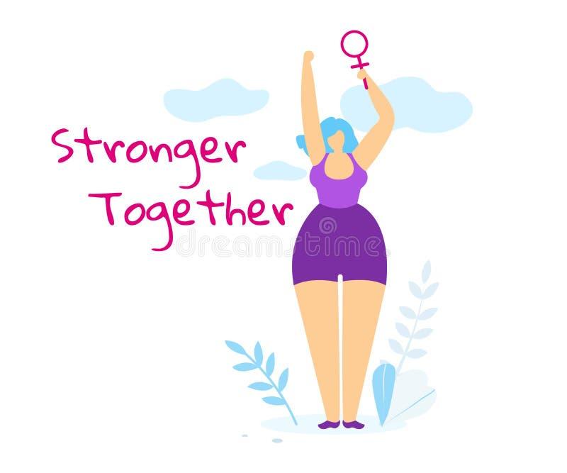 Sterkere samen Banner met Vrouw het Toenemen omhoog Hand vector illustratie