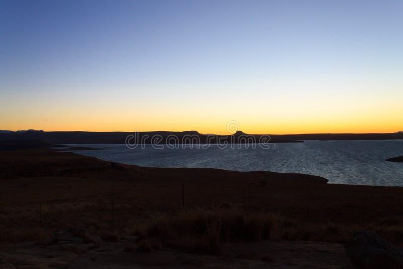 Sterkfontein Dam Nature Reserve. Dawn landscape, South Africa. African panorama. Drakensberg mountains stock photos