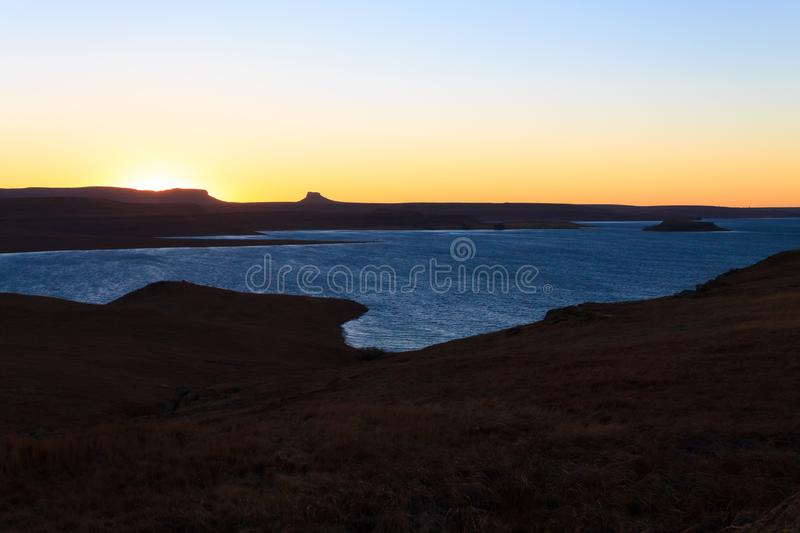 Sterkfontein Dam Nature Reserve. Dawn landscape, South Africa. African panorama. Drakensberg mountains royalty free stock image